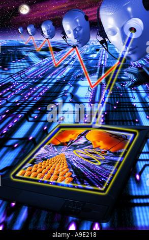 L'accès, évaluer, asset, ace, attention,assister,air,Intercom casque Communication internet PA futuristic Concept Banque D'Images