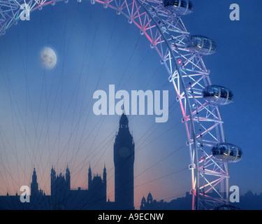Gb - Londres: le London Eye et Big Ben de nuit Banque D'Images