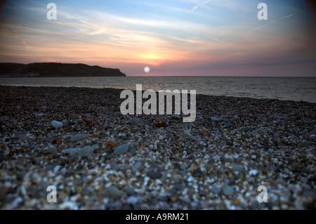 Coucher du soleil lever du soleil sur la mer Banque D'Images