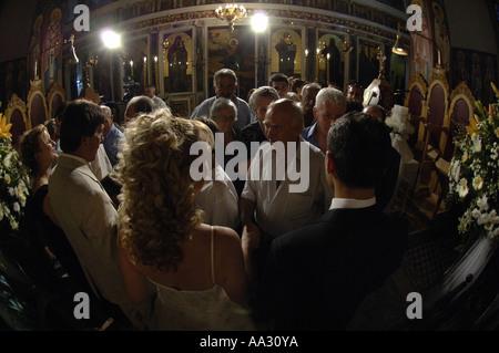 Le grec, mariage, vrai, simple, agrinon, Grèce, Europe, European, fête, célébration, à l'intérieur, de l'intérieur Banque D'Images