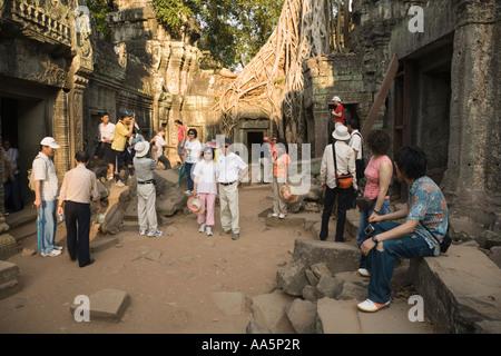 Tourisme à Ta Prohm temple, Angkor, Cambodge Banque D'Images