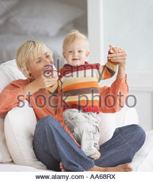 Woman with baby boy Banque D'Images
