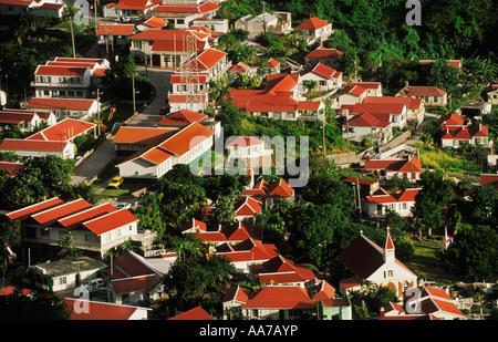 Vue de la ville de La Serena sur l'île de Saba Banque D'Images