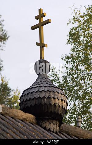 Bulbe en bois de l'Est de l'église orthodoxe à Bomba près de Kittila, en Carélie, Finlande Banque D'Images