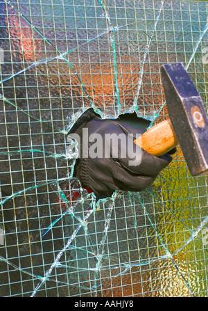 Cambrioleur par effraction dans une propriété privée, en brisant l'intermédiaire du fil de verre appliqué à l'aide Banque D'Images