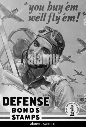 1940 OBLIGATIONS DE DÉFENSE ET D'APPLICATION DE L'AFFICHE DE LA SECONDE GUERRE MONDIALE, DEUX PILOTES DE CHASSE Banque D'Images