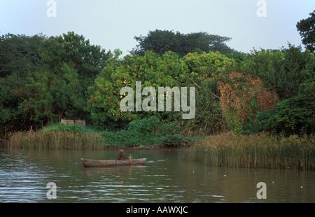 Pêcheur dans une pirogue sur le fleuve Gambie à Janjangbureh MacCarthy , île , la Gambie Banque D'Images