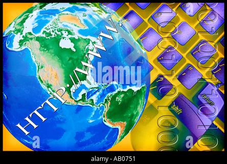 Les lettres HTTP WWW superposées sur la terre dans un montage avec un violet et jaune clavier de l'ordinateur et Banque D'Images