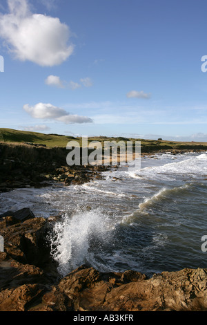 Vagues se briser contre les rochers le long de la Fife Coastal Path près de Kingsbarns. Banque D'Images