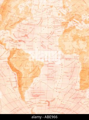 La carte de l'Amérique du Sud et en Afrique