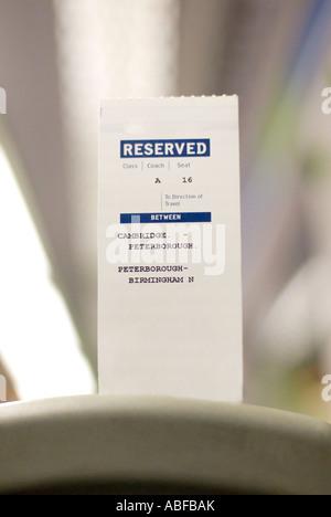 Une place assise dans un train ticket au Royaume-Uni utilisé pour réserver votre place à bord des trains dans tout Banque D'Images