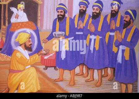 Peinture de la 'cinq saints' à l'amrit cérémonie durant l'initiation à la Fraternité Sikh Banque D'Images