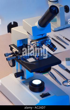 Microscope optique et outils dans un laboratoire Banque D'Images