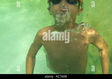 France Provence jeune garçon la plongée dans une piscine Banque D'Images