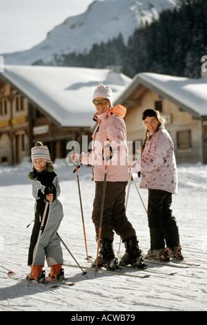 Vacances Ski Famille Banque D'Images