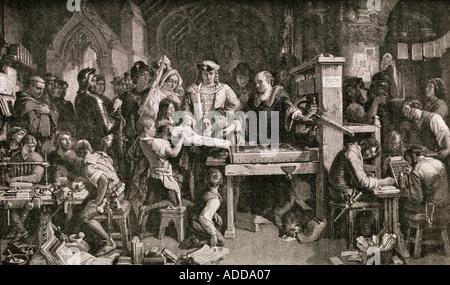 Caxton montrant des spécimens de son impression sur le roi Édouard IV. William Caxton,c. 1422 - c. 1491. Marchand Banque D'Images