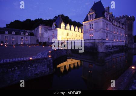 Vallée de la Loire France Chateau de Villandry les jardins de nuit Banque D'Images