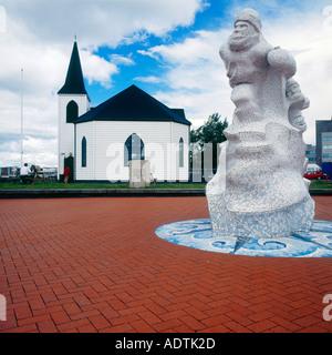 L'Église norvégienne et le mémorial de l'explorateur de l'Antarctique Le Capitaine Robert Falcon Scott dans la baie Banque D'Images