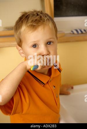 Jeune garçon se brosser les dents Banque D'Images