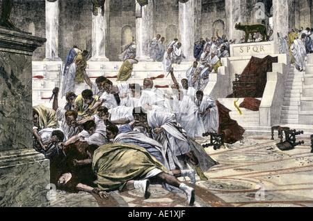 Jules César assassiné dans le sénat Romain 44 av. À la main, gravure sur bois Banque D'Images