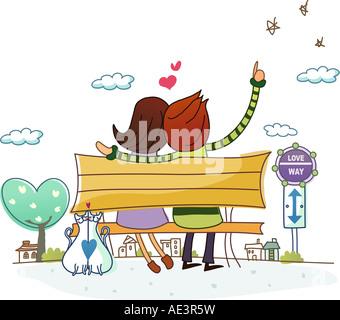 Vue arrière d'un couple assis sur un banc et de pointage Banque D'Images