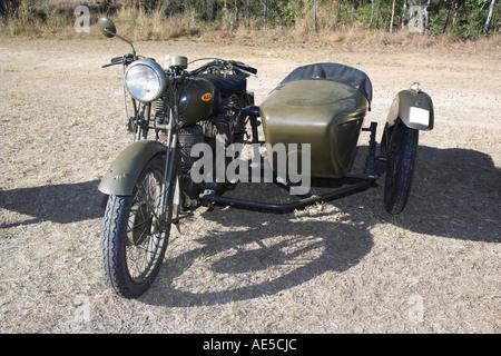 Véhicule militaire britannique d'origine BSA WM20 500 cc moto avec side car faite en 1939 utilisé dans la seconde guerre mondiale en Europe.