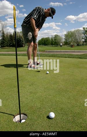 Man golf putt sur le vert de pratique Banque D'Images