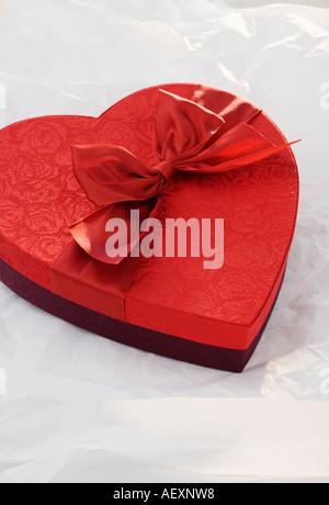 Boîte de chocolats en forme de coeur Banque D'Images