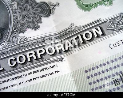 Détails certificat d'actions Banque D'Images