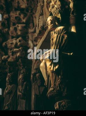 Santiago de Compostela Galice Province de La Corogne Espagne Détail de Portico de la Gloria dans la Cathédrale