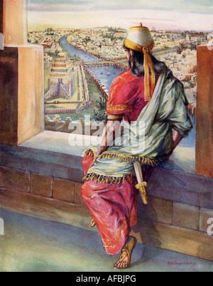Roi Nebucadrezzar II, alias Nebucadrezzar, c. 630-562 BC regardant sur Babylone. Banque D'Images