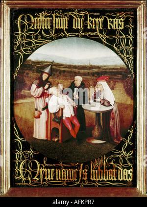 """'Fine Arts, Bosch, Hieronymus, (vers 1450 - 1516), peinture, """"la cure de la folie (extraction de la pierre de folie)', Banque D'Images"""