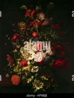 'Fine Arts, Ruysch, Rachel, (1664 - 12.8.1750), peinture, 'Still life', Alte Pinakothek, Munich, vit toujours, fleur, Banque D'Images