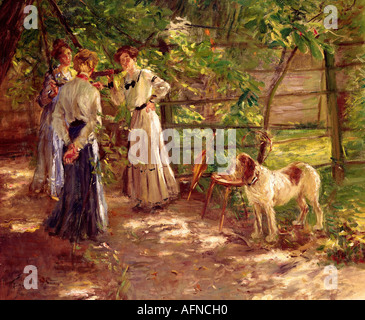 'Fine Arts - Uhde, Fritz von (22.5.1848 - 25.2.1911), peinture, 'Die Töchter im Garten' (Vue de l'artiste avec son Banque D'Images
