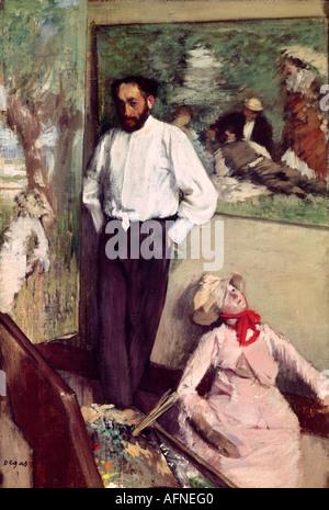 'Fine Arts, Degas, Edgar, (1834 - 1917), peinture, 'L' Homme et le pantin', ('Portrait d'Henri Michel-Levy dans son studio'),