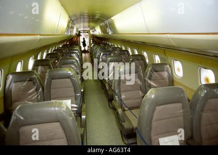 Musée Duxford Cambridgeshire Concorde 001 sièges passagers Banque D'Images