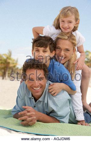 Sur une couverture familiale Banque D'Images