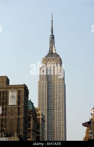 Empire State Building avec la lumière de fin d'après-midi, vue depuis le sud, New York City Banque D'Images