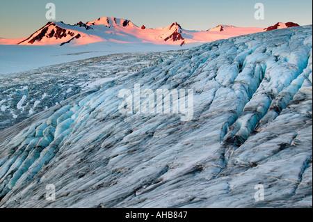 Et le glacier Exit Harding Icefield au lever de Kenai Fjords National Park Alaska Banque D'Images