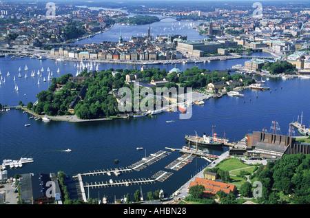 Vue aérienne de Stockholm sur Skeppsholmen et Wasa Museum Banque D'Images