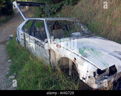 La voiture ferraille Europe Gibraltar Banque D'Images