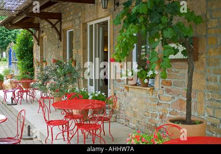 Terrasse guest house, bed and breakfast accommodation, Saint-Amour-Bellevue, en Beaujolais pays, Saône-et-Loire, Banque D'Images