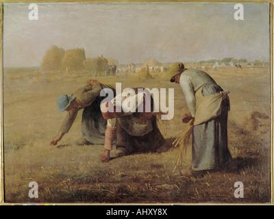 """'Fine Arts, Millet, Jean-François (1814 - 1875), peinture, """"Les Glaneurs"""", 1857, huile sur toile, Musée du Louvre, Paris, français, réalisme Banque D'Images"""