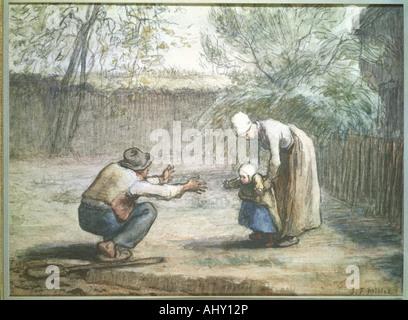 """'Fine Arts, Millet, Jean-François (1814 - 1875), dessin, """"Les premiers pas"""", collection privée, Augsbourg, Français, réalisme, Sc Banque D'Images"""