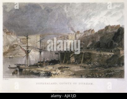 Avis de Sunderland et le pont de fer à l'Est, 1833. Artiste: Inconnu