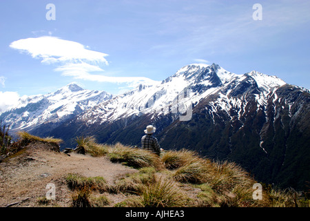 Vue imprenable sur la montagne à partir de la gamme Mt aspirant en dessous de selle Cascade ile sud Nouvelle Zelande Banque D'Images