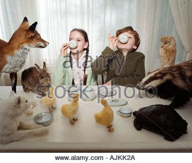 Les enfants ayant un thé avec des animaux Banque D'Images