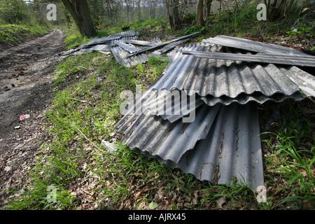 Feuilles de toiture amiante abandonnées dans une ruelle de Kent Banque D'Images