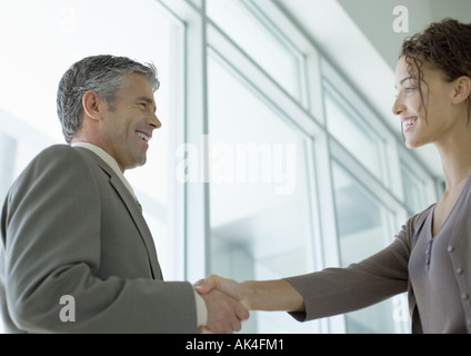 Businessman shaking hands with woman Banque D'Images