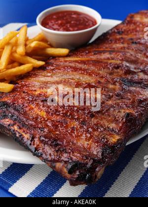 Tout un carré de porc américain spare ribs editorial food Banque D'Images
